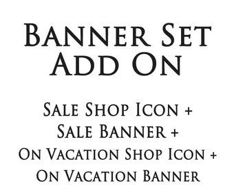 Shop banner set add on sale shop icon,sale banner,on vacation shop icon,on vacation banner