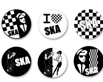 Lot Pins Ø25mm - o38mm Pinback Button Badge / Magnet o38mm Ska