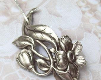 Flower Shawl Pin, Flower Scarf Pin, Daisy Hair Slide, silver shawl pin, oxidized, silver filled, fall fashion, leaf, daisy