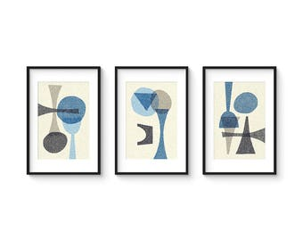 OFFSET BLUE SET no.1 - Collection of (3) Giclee Prints - Abstract Geometric Mid Century Modern