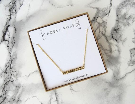 Hammered Bar Pendant Necklace, Pendant Necklace, Dainty Necklace, Simple Necklace, Layering Necklace, Everyday Jewelry, Boho Chic, Bohemian
