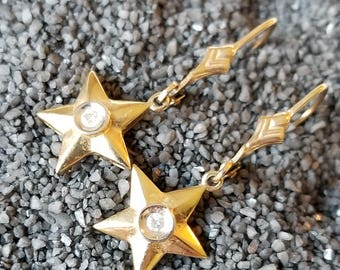 10K Yellow Gold Star Leverback Dangle Earrings (st - 2171)