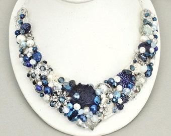 Sapphire Statement Necklace- Bridal Necklace- Cobalt Bridal Bib- Navy Necklace- Blue Bridal Necklace- Wedding Necklace- Bridal Bib Necklace
