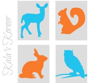 Woodland Nursery Art, Forest Nursery art, Forest Animals nursery, Woodland Animals Nursery, Playroom wall art, turquoise orange nursery