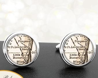 Map Cufflinks Ft Lauderdale FL Handmade Cufflinks City Maps Florida Groomsmen Wedding Party Fathers Dads Men