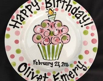 Personalized Birthday Plate - Hand Painted Birthday Plate - Pink and Green Colorful Cupcake