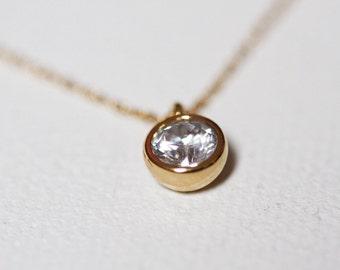 Cubic Zirconia Necklace, Solitaire Diamond Necklace, Diamond Necklace Gold, CZ Diamond Necklace, Gold Filled Necklace, Solid Gold Necklace
