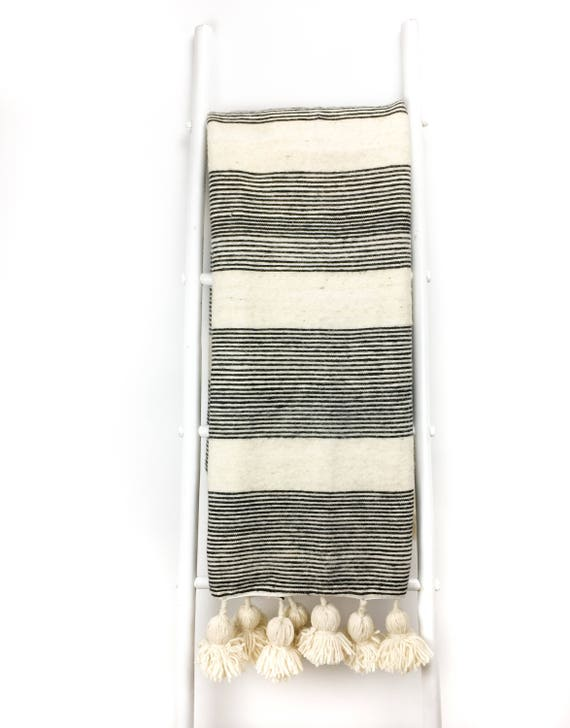 Reserved for Theresa - Ivory & Black Striped Pom Pom Blanket - Handwoven - Wool - Moroccan - Throw