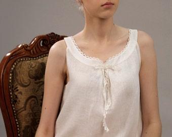 Linen White Pajama Top Sleeveless Laced/Linen shirt/Luxury pajama linen/ Linen Sleepwear/ Linen Underwear