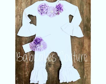 Newborn Girl Coming Home Outfit, Newborn Lavender Take Home Outfit, Newborn Ruffle Romper, Newborn Photo Outfit Lavender Newborn Girl Outfit