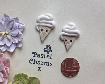 Clay Flatback ice cream summer kawaii embellishments deco topper pack of 2
