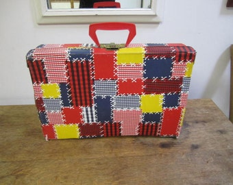 Doll's Patchwork Suitcase. Child's suitcase. Luggage