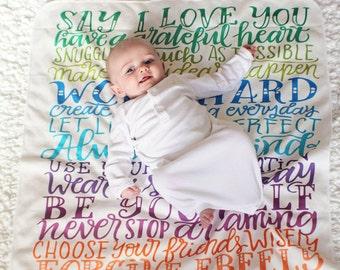 Swaddle - Rainbow baby - Family rules swaddle - Baby Swaddle -  Rainbow wishes - Wishes for baby