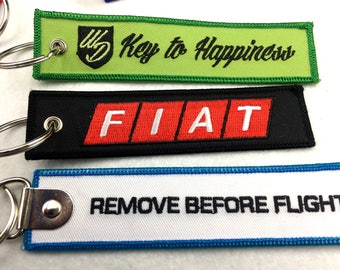 Custom embroidered key chains, embroidered key fob, remove before flight keyring