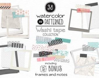 Modern Washi Set - BONUS Frames and Notes - Blogging, Websites and Scrapbooking