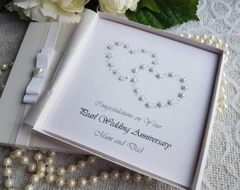 Pearl 30th Wedding Anniversary Card Handmade Personalised Parents Grandparents Friends Any Names box keepsake