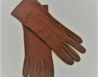 60s Brown Gloves, Short Gloves, Taupe Brown Gloves, 1960s Classic Gloves, Size Small Gloves, Short Brown Gloves, Brown Dress Gloves