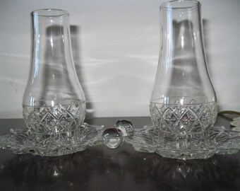 Two Vintage Glass Candleholders with Globes