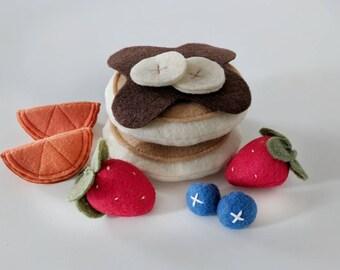 Felt Food, Felt Pancakes, Play Food, Breakfast Play Set