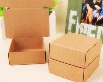 Kraft Paper Boxes - 2pcs Brown Kraft Box Paper Box Gift Boxes Gift Wrapping 62mm x 62mm x 32mm