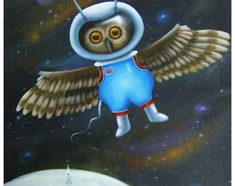 Major Howell the Astronaut Owl - 8 x 10 Fine Art Print of a Brown Owl Wearing a Space Suit and Tethered to his Rocket Ship on the Moon