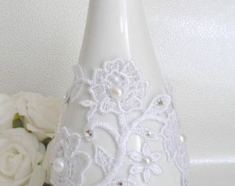 Bracelet cuff wedding Sofia Venice guipure lace white off-white light ivory pearls and swarovski rhinestones