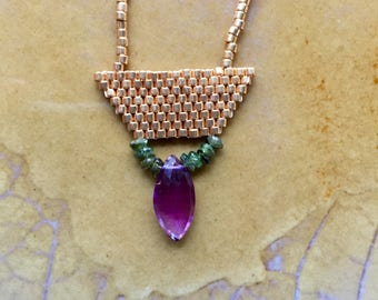 Simple gold beaded necklace, seedbead necklace, brickstitch necklace, amethyst and gold beaded choker