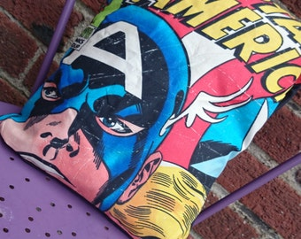 Captain america Avengers 14x14 Pillow Cushion Cover Upcycled Eco
