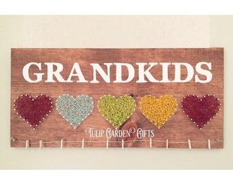 Grandkids Birthstone Heart String Art Photo Display, Birthstone String Art, Grandkids Photo Display, Family Birthstone String Art,