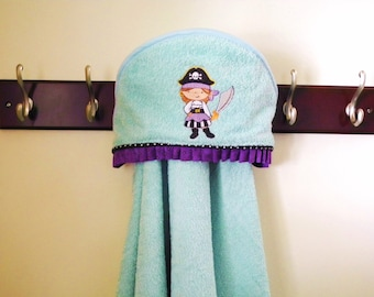 toddler towel pirate girl hooded bath wrap