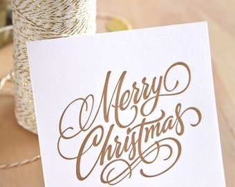 Letterpress Christmas card Hand lettered Merry Christmas in GOLD Made in Australia