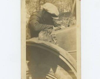 """Vintage Snapshot Photo: """"Pat Looking for Something, 1924"""" (81636)"""