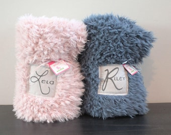 Faux Fur baby blanket lovey personalized name double sided llama fur gift rose ivory grey newborn gift plush photo prop toddler