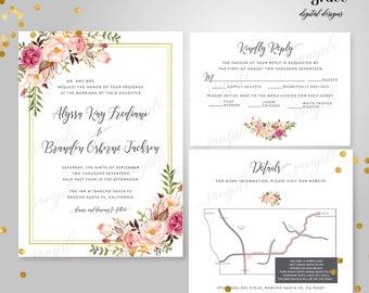 Blush Floral Wedding Invitation Suite