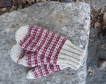 Hand knit New England wool mittens in granite and cranberry