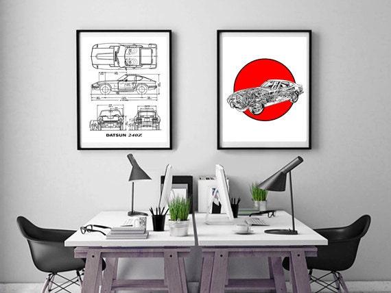 Datsun 240z blueprint set of 2 datsun 240z instant datsun 240z blueprint set of 2 datsun 240z instant download datsun automotive art 240z blueprints datsun wall art 8x10 11x14 malvernweather Image collections