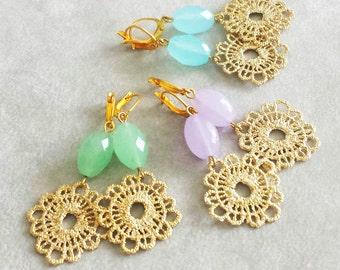 Gold Lace Crochet earrings, Pastel Gemstone earrings, Lavender Lilac Earrings, Graduation gift, gift for daughter, gift for her