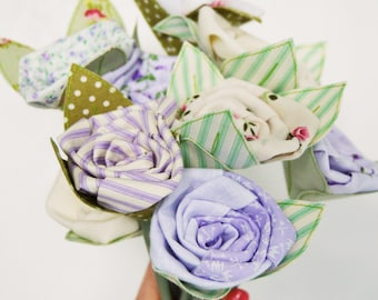 Faux  Flowers - Bunch of 9 Fabric Flowers