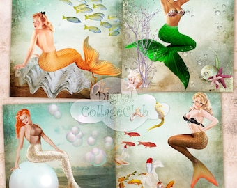 Vintage Mermaids Digital Collage Sheet Large Images for Coasters, Greeting Cards, Digital Background, Card Making, Decoupage