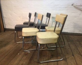 Six vintage 1960's french chairs