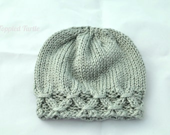 Smocked Newborn Knit Hat | RTS Photo Prop | Newborn Knit Photo Prop | Gender Neutral Photo Prop | Knit Baby Hat