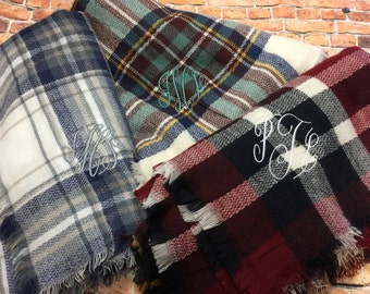 Monogram Plaid Blanket Scarf - Personalized Scarf | Teacher Gift | Blanket Scarves | Bridesmaid Gift