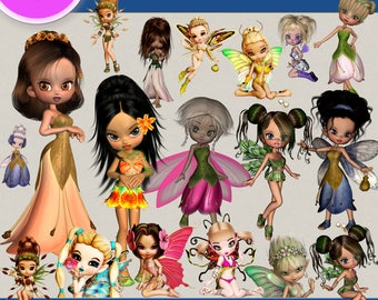 LITTLE SPRING FAIRY clipart png images, Digital Cliparts, Stickers, Png file, Transparent Backgrounds, digital print, printable images