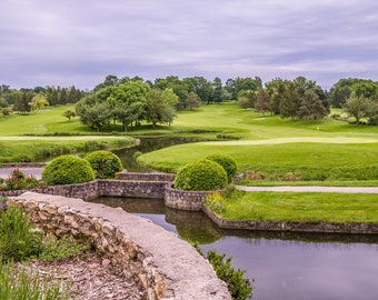 Golf Course View Over Pond Art Print Wall Decor Image Unstretched - Unframed Canvas