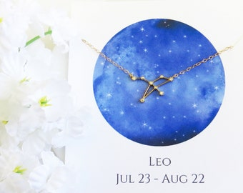 Leo Constellation Necklace, Leo Necklace, Zodiac Necklace, Zodiac Gift, Best Friend Necklace, Birthday Gift, Mother's Day Gift