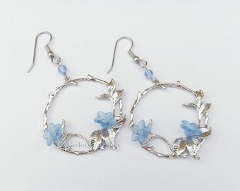 Delicate Floral Earrings, Pale Blue Trumpet Vine Flowers on Tree Branch Pendant Earrings, circle w flowers, silvertone hanging hoop twig
