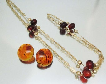 Vintage Lucite Faux Tortoise Shell Necklace & Earrings Unused