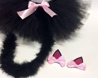 Cat costume, black cat costume, baby cat costume, halloween cat costume, black cat tutu, black tutu, girl cat costume, pink cat, cat clips