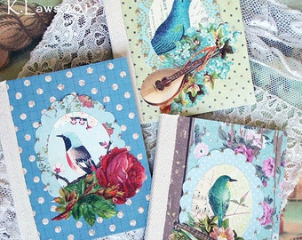 set of 3 paper collaged mini notebooks - birds - NO 9