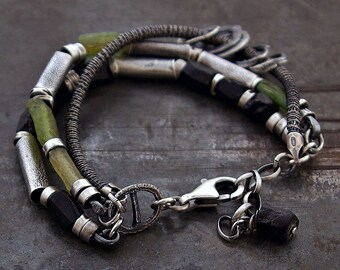 ancient Roman glass and raw black tourmaline  with raw sterling silver bracelet • oxidized silver  • chain multi link